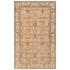 Decorative Neutral Antique Room Size Persian Tabriz Rug