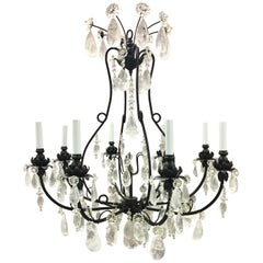 Wonderful Baguès French Rock Crystal Black Iron Chandelier Eight-Light Fixture