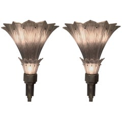 "Pair of French Art Deco ""Jet d'eau"" Wall Sconces"