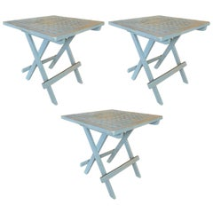 Three Contemporary Folding Small Painted Teak Picnic Tables