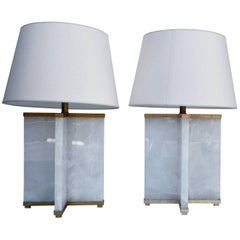 Pair of Rock Crystal Lamps with Cross Design Brass Haskell