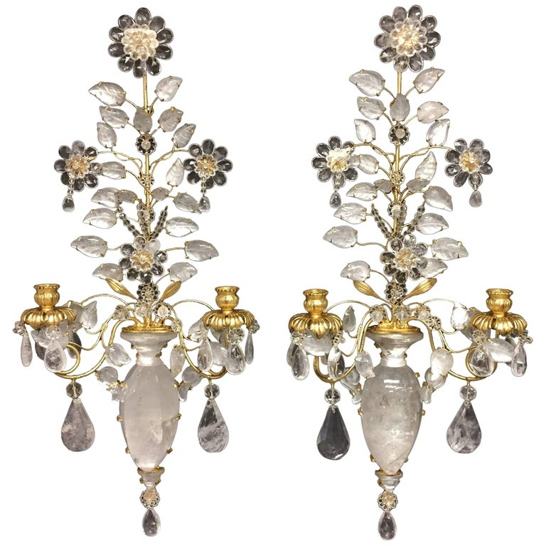 Wonderful Pair of Rock Crystal Baguès Two-Arm Mid-Century Modern Jansen Sconces For Sale