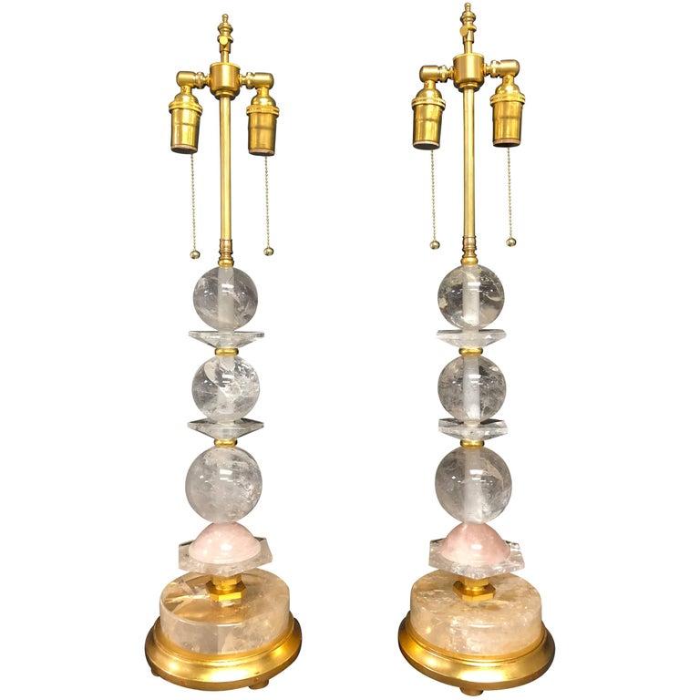 Fine Pair of Baguès Mid-Century Modern Rock Crystal Pink Quartz Giltwood Lamps