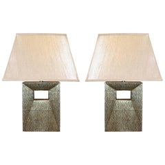 Pair of Black/Gold Cut Out Base Lamps, Italy, Contemporary