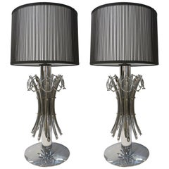 1970s Italian Vintage Tall Pair of Organic Nickel Table Lamps with Pendant Rings