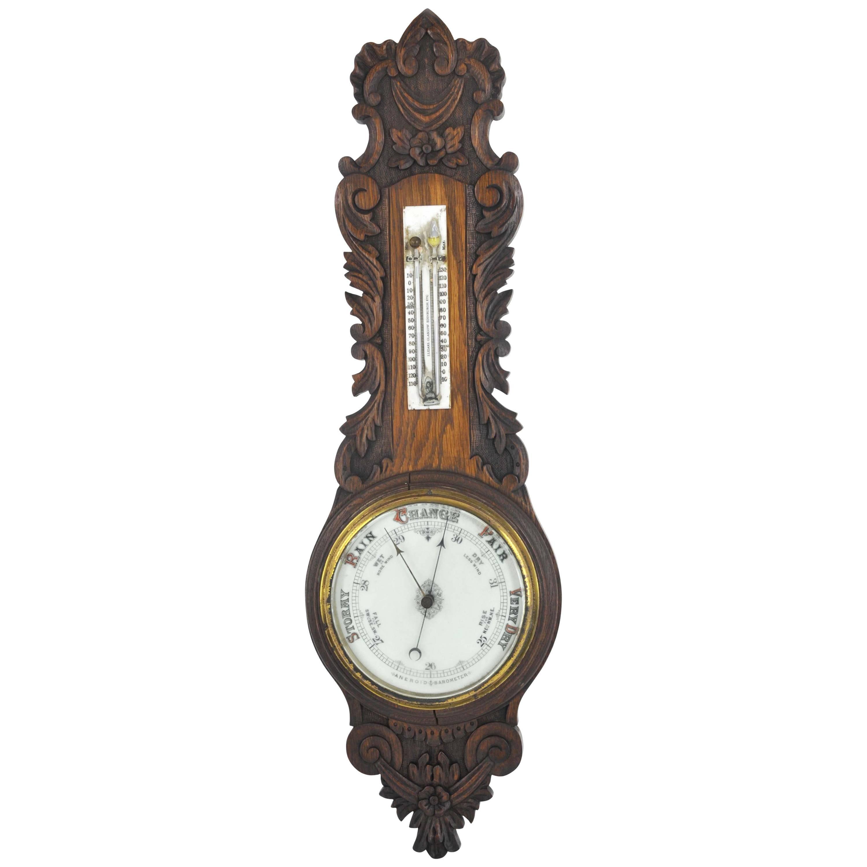 Aneroid Barometer, Decorative Barometer, Carved Oak Barometer, 1890