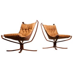 1970s, a Pair of Camel Leather Lounge, Armchairs by Sigurd Ressell