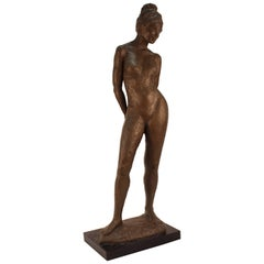 Midcentury Signed Ceramic Sculpture of a Nude Woman