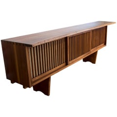 George Nakashima Three-Door Credenza in American Walnut with Pandanus Cloth
