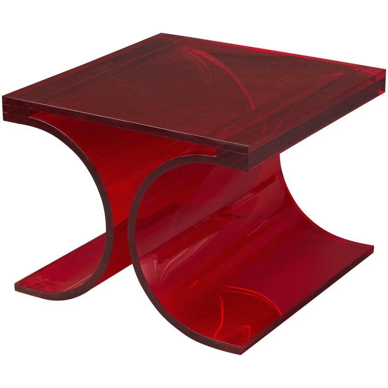 Michel Boyer & Jean-Pierre Laporte, Prototype Side Table, Red Altuglas, 2009 For Sale
