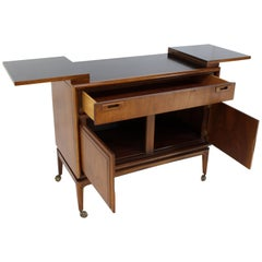 Danish Mid-Century Modern Walnut Flip Top Server Bar
