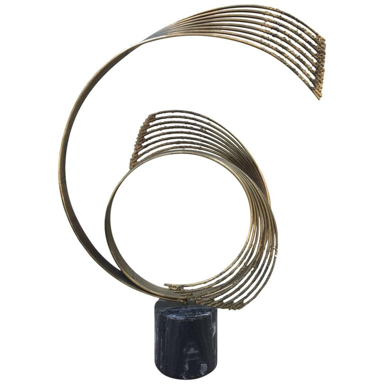 Steel and Brass Abstract Sculpture by Curtis Jere