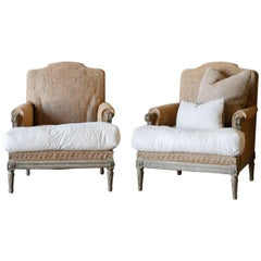 Pair of Antique Bergeres with Feather Cushions