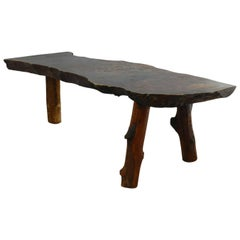 Coffee Table Bench Vintage Rough Hewn Free-Form Slab Nakashima Style Primitive