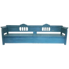 Very Long Painted 19th Century Bench with Storage