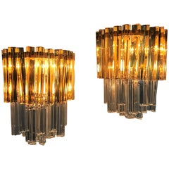 Mid-Century Modern Signed Pair of Murano 'Asta Triedo' Glass Sconces by Venini