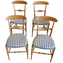 Four French Fruitwood Chairs with New Seats and Upholstered with Vintage Fabric