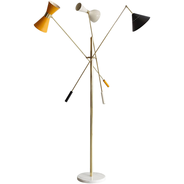 Italian Three-Arm Floor Lamp in the Style of Arredoluce