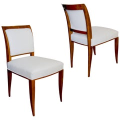 Pair of Art Deco Side Chairs in Sycamore by Alfred Porteneuve