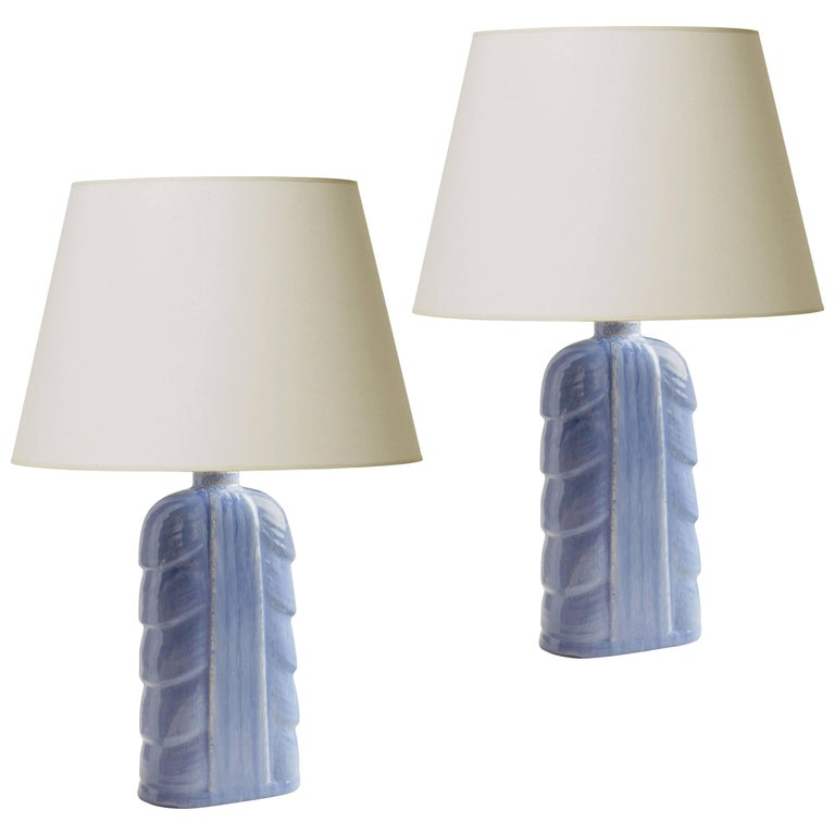 Pair of Table Lamps with Leafy Modeling and Periwinkle Glaze by Gunnar Nylund For Sale