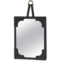 Studded Black Leather Jacques Adnet Mirror