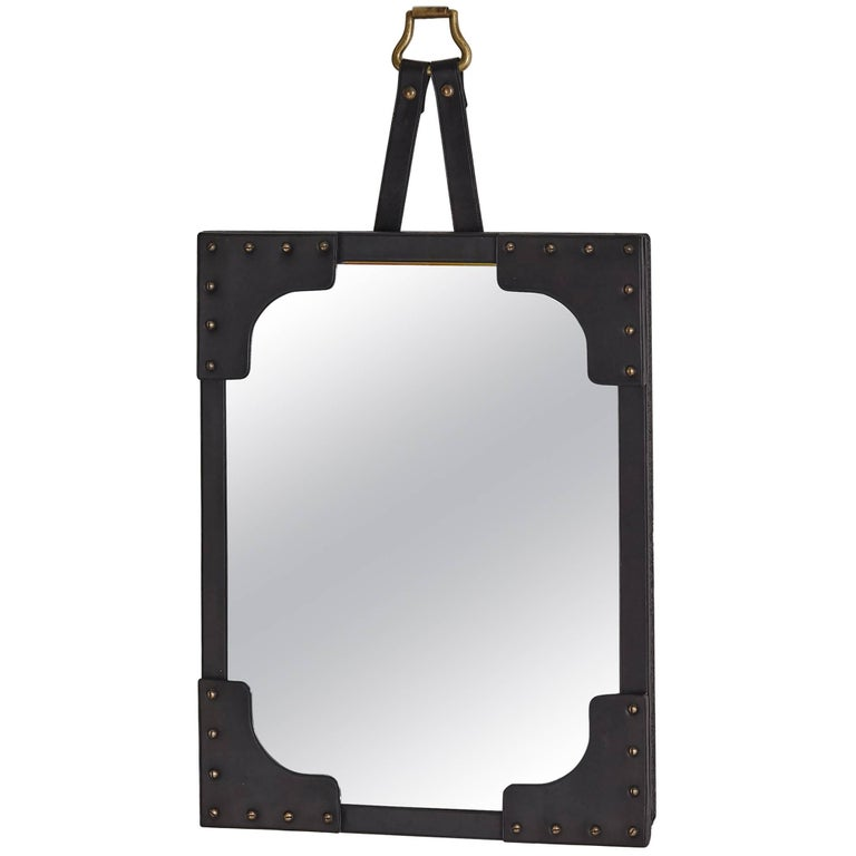 Studded Black Leather Jacques Adnet Mirror For Sale