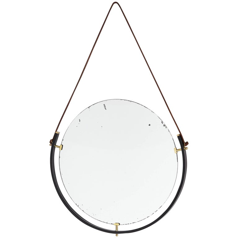 Italian Floating Mirror with Leather Strap