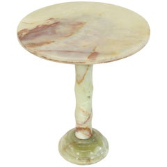 Round Onyx Side Table Pedestal Turned Base