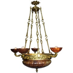 French Art Deco Bronze and Rubi Color Alabaster Five-Light Chandelier