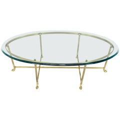 Brass Oval Hoof Feet Coffee Table Thick Bevelled Glass