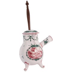 French Faience Chocolate Pot and Stirrer, circa 1770