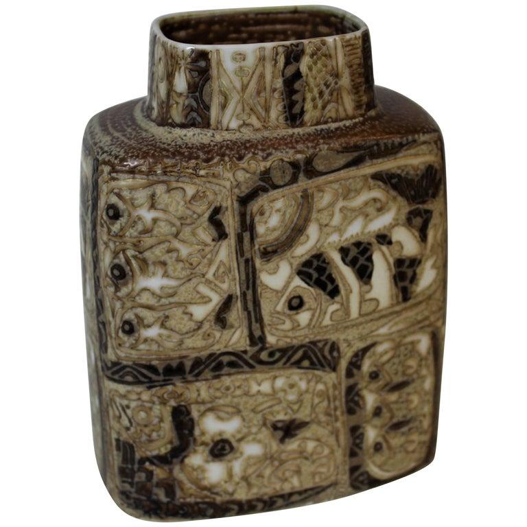 Nils Thorsson Pottery Vase for Royal Copenhagen, BACA Fajance Series