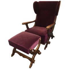 Windback Chair with Ottoman European Oak