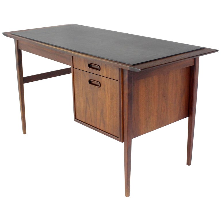 Medium Small Danish Mid Century Modern Oiled Walnut Desk With Slate Top For