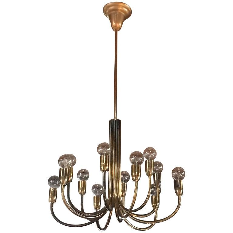 Italian Brass Chandelier with 12 Lights