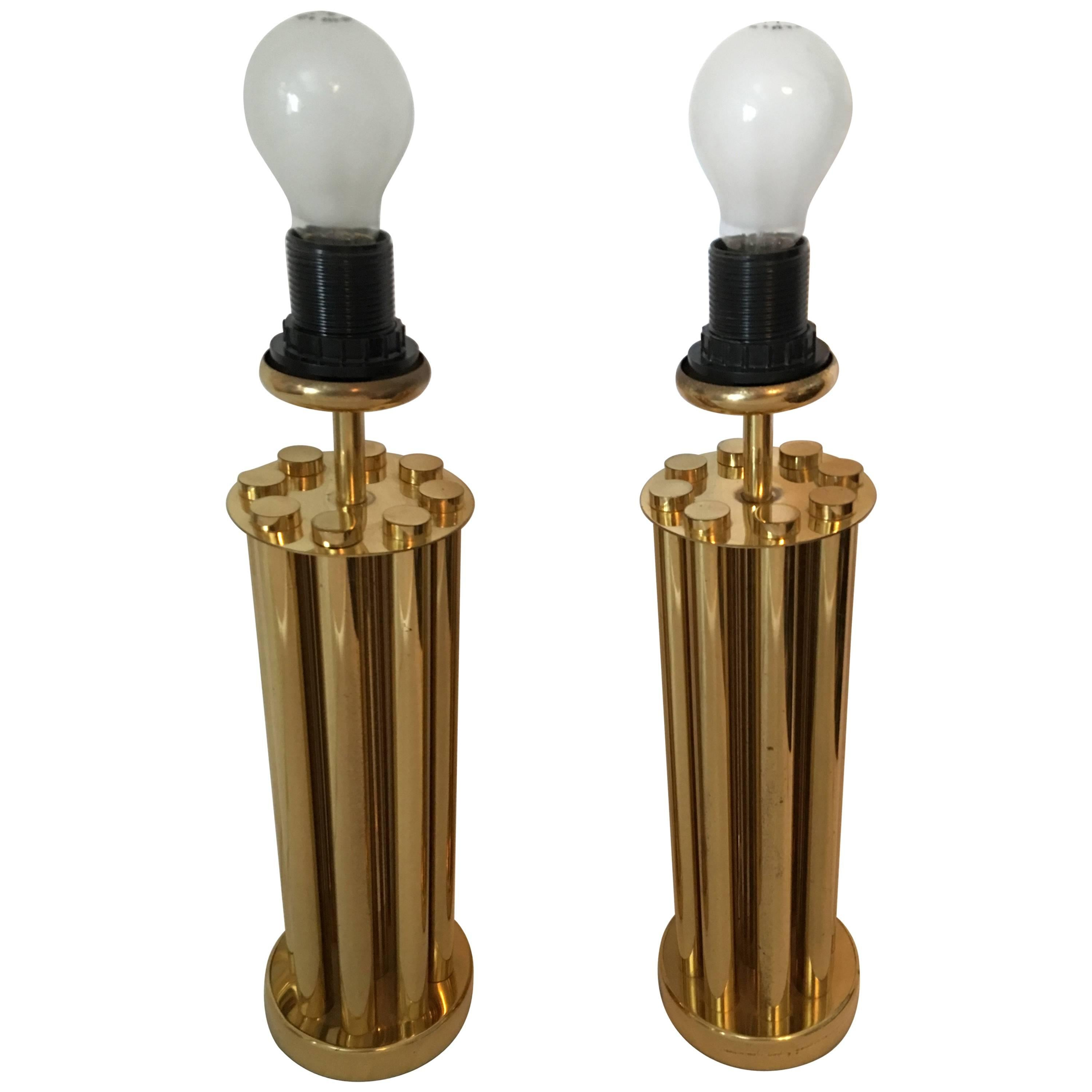 One Pair of Midcentury Brass French Tube Table Lamps