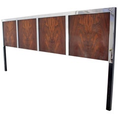 Rosewood and Heavy Chrome Mid-Century Modern King Size Headboard Bed