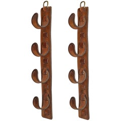 Pair of Jacques Adnet Leather Wine Holders or Hooks
