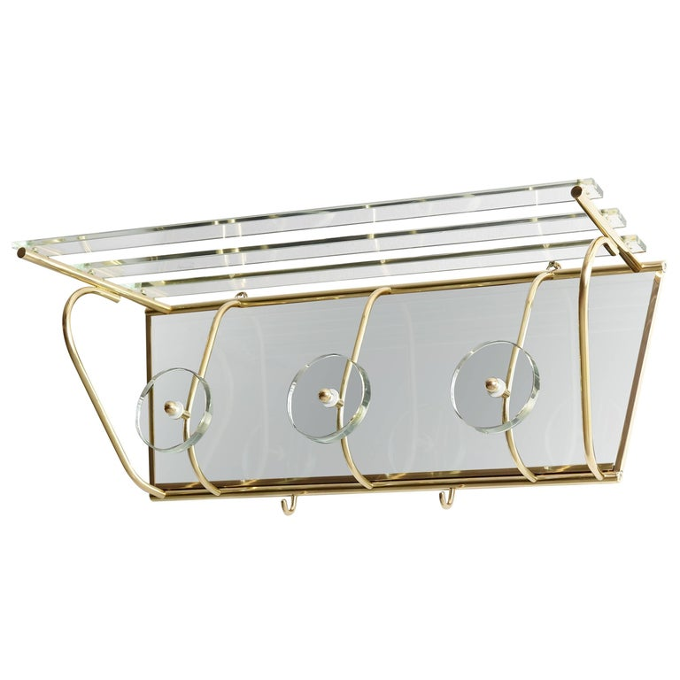 Italian Fontana Arte Style Glass and Brass Coat Rack