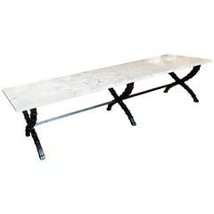 Midcentury French Industrial Marble-Top Coffee Table