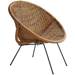Wicker and Iron Bucket Chair
