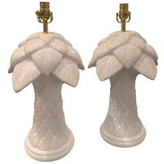 Vintage Pair of Plaster Palm Tree Frond Leaves Table Lamps White Lacquered Brass