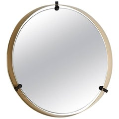 Italian Brass Round Floating Mirror