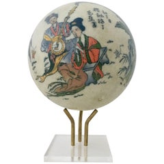 Japanese Satsuma Ceramic Geisha Sphere Sculpture and Stand