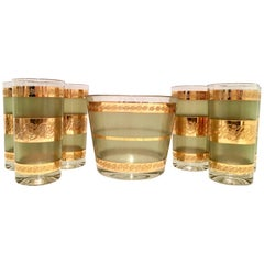 Mid-Century 22-Karat Gold Textured Drinks, S/7