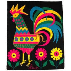 Luis Montiel Colorful and Vibrant Midcentury Rooster Tapestry