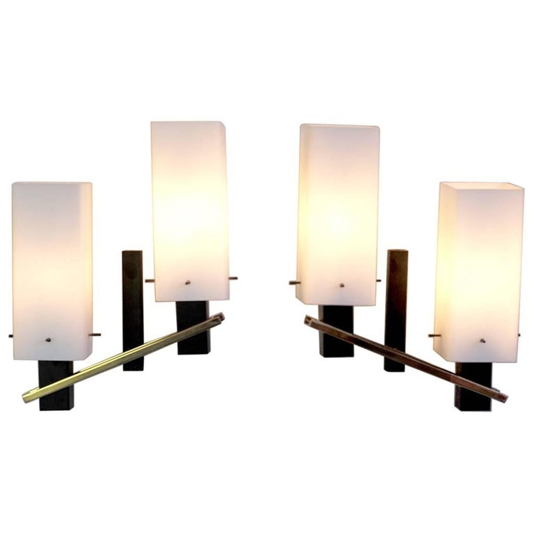 Maison Arlus, Pair of Double Sconces, France, 1960 For Sale