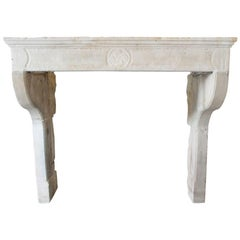 Antique Sandstone Fireplace Mantel, 19th Century