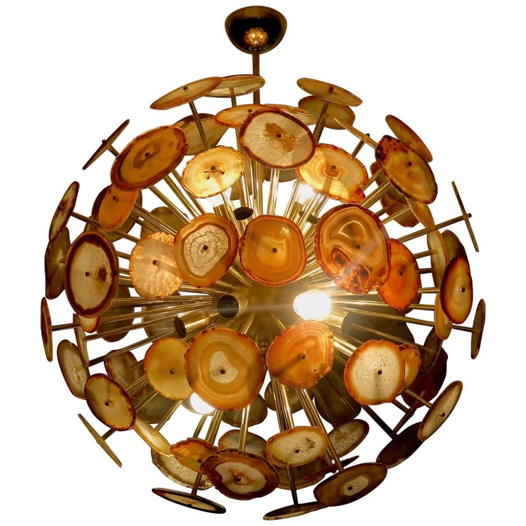 1970s Sputnik Spherical Agata and Brass Midcentury Chandelier