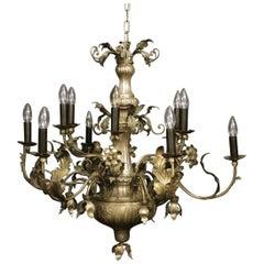 Italian Genoa Silvered Twelve-Light Antique Chandelier
